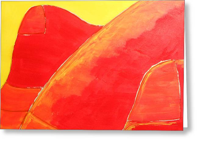 Caddy Paintings Greeting Cards - 285  Red Caddy Too Greeting Card by Gregory Otvos