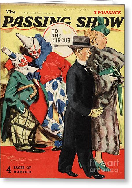 Clowns Drawings Greeting Cards - 1930s,uk,the Passing Show,magazine Cover Greeting Card by The Advertising Archives