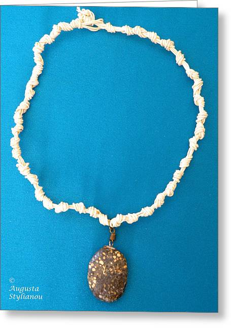 White Jewelry Greeting Cards - Aphrodite Urania Necklace Greeting Card by Augusta Stylianou