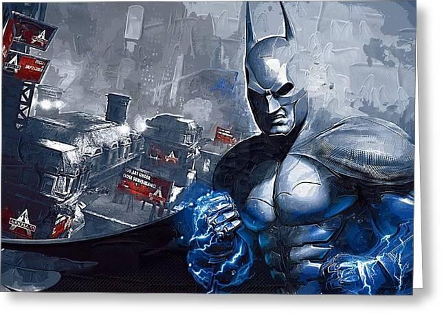 Batman Greeting Cards - Batman Arkham Greeting Card by Victor Gladkiy