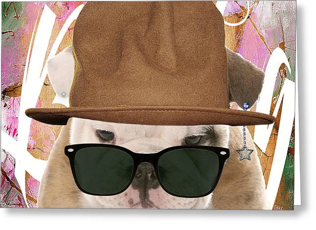 Best Sellers -  - Pop Mixed Media Greeting Cards - Bulldog Collection Greeting Card by Marvin Blaine