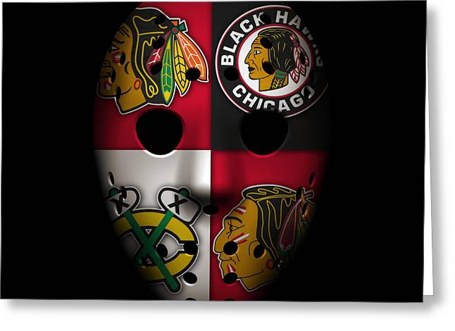 Goalie Greeting Cards - Chicago Blackhawks Greeting Card by Joe Hamilton