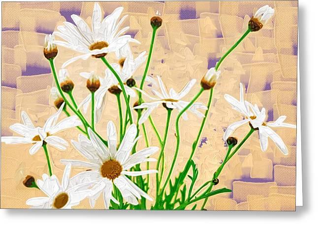 Printables Greeting Cards - Flowers Painting Oil Greeting Card by Victor Gladkiy