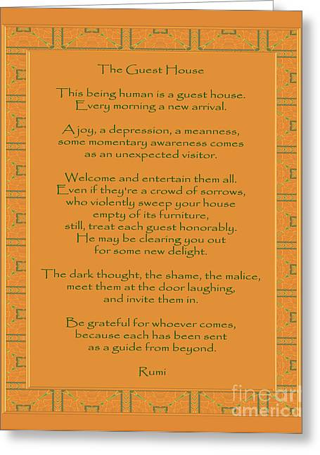 Wisdom Greeting Cards - 29- The Guest House Greeting Card by Joseph Keane