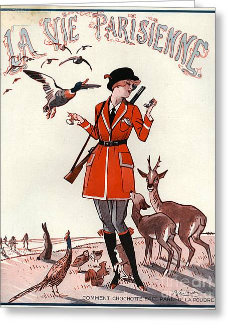 Hunting Bird Drawings Greeting Cards - 1920s France La Vie Parisienne Magazine Greeting Card by The Advertising Archives