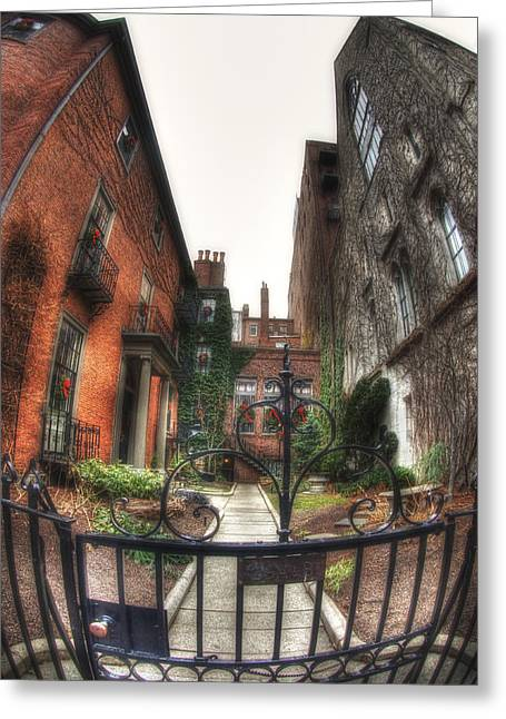 Colonial Scene Greeting Cards - 29A-B Beacon Hill Greeting Card by Joann Vitali