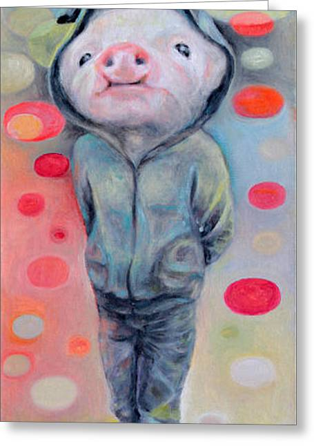 Piglets Greeting Cards - 2nd Little Pig Greeting Card by Manami Lingerfelt
