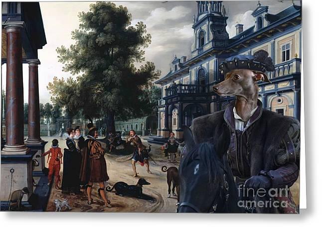 Italian Greyhound Greeting Cards -  Italian Greyhound Art Canvas Print Greeting Card by Sandra Sij