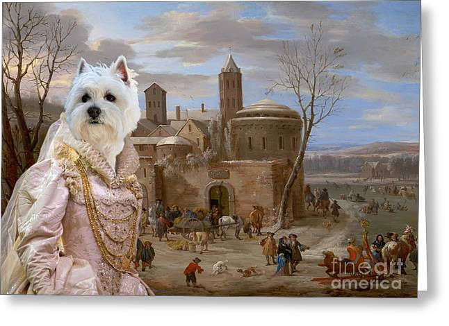 Westie Terrier Greeting Cards -  West Highland White Terrier Art Canvas Print Greeting Card by Sandra Sij