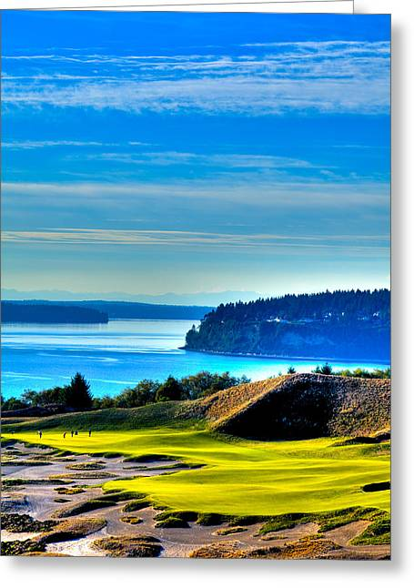 Us Open Greeting Cards - #14 at Chambers Bay Golf Course - Location of the 2015 U.S. Open Tournament Greeting Card by David Patterson