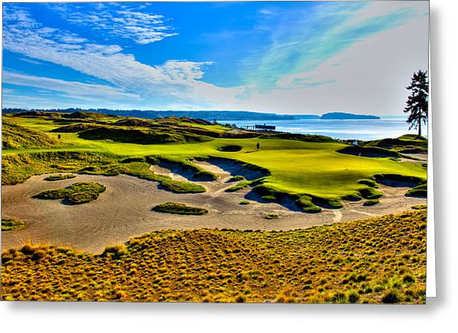 Us Open Greeting Cards - #15 at Chambers Bay Golf Course - Location of the 2015 U.S. Open Tournament Greeting Card by David Patterson
