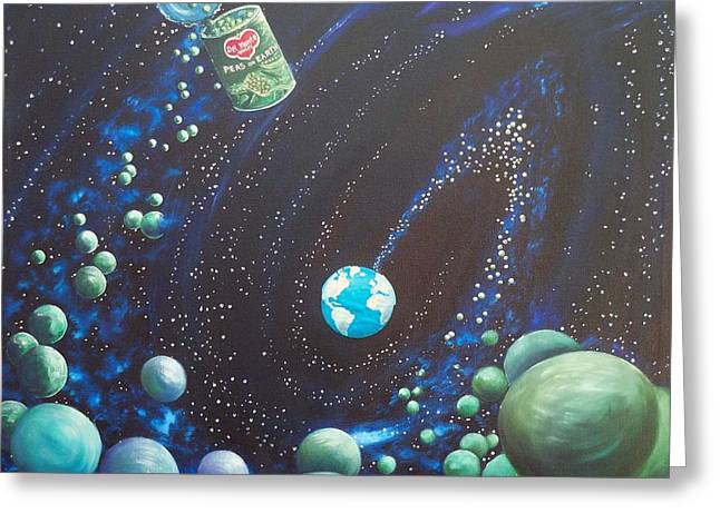 Outer Space Paintings Greeting Cards - 169  Peas on Earth Greeting Card by Sigrid Tune