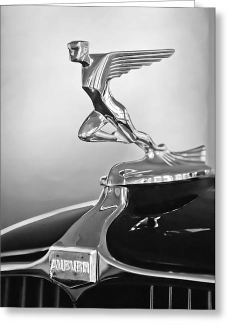 Collector Hood Ornament Greeting Cards - 1932 Auburn 12-160 Speedster Hood Ornament Greeting Card by Jill Reger