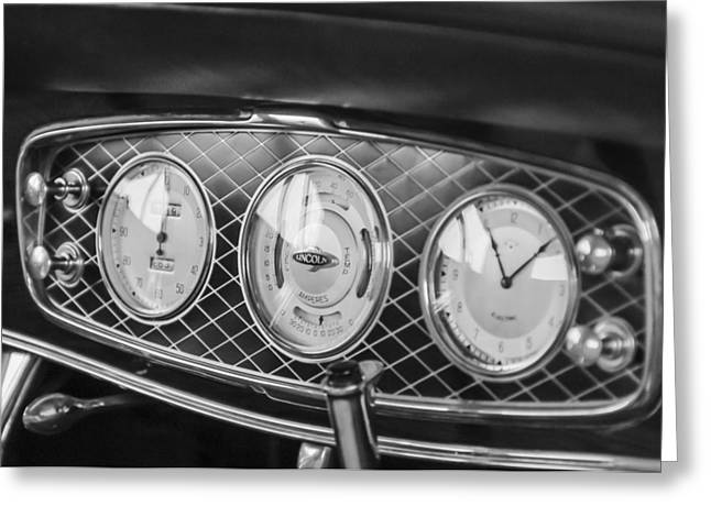 Dashboard Greeting Cards - 1933 Lincoln KB Judkins Coupe Dashboard Instrument Panel Greeting Card by Jill Reger