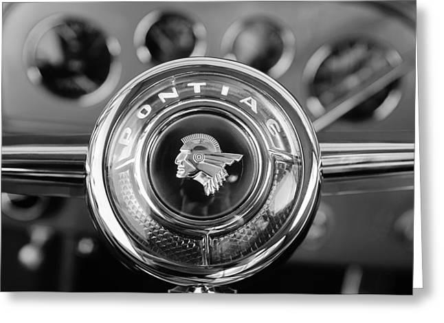 1933 Pontiac Greeting Cards - 1933 Pontiac Steering Wheel Emblem Greeting Card by Jill Reger