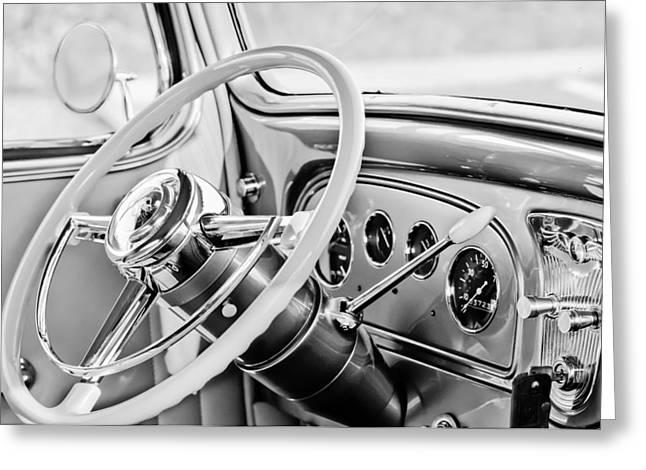 1933 Pontiac Greeting Cards - 1933 Pontiac Steering Wheel -0463BW Greeting Card by Jill Reger