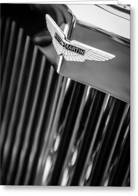 1934 Greeting Cards - 1934 Aston Martin Mark II Short Chassis 2-4 Seater Grille Emblem Greeting Card by Jill Reger