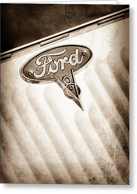 1934 Ford V8 Emblem Greeting Card by Jill Reger