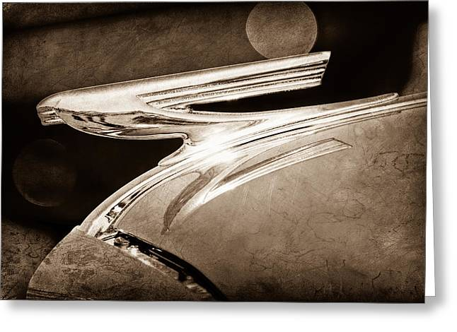 Collector Hood Ornament Greeting Cards - 1937 Chevrolet Hood Ornament Greeting Card by Jill Reger