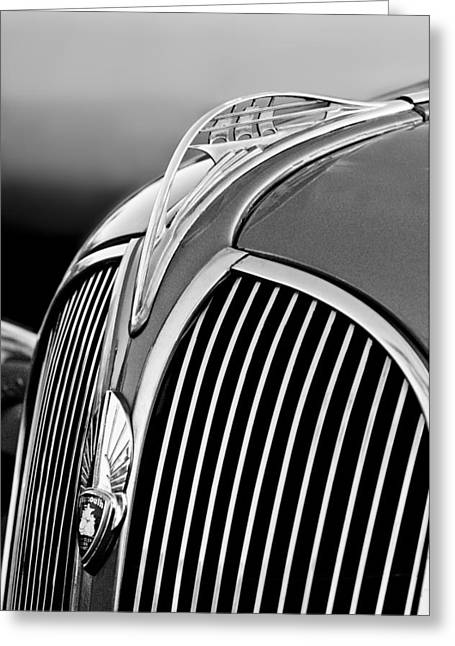 Collector Hood Ornament Greeting Cards - 1937 Plymouth Hood Ornament Greeting Card by Jill Reger