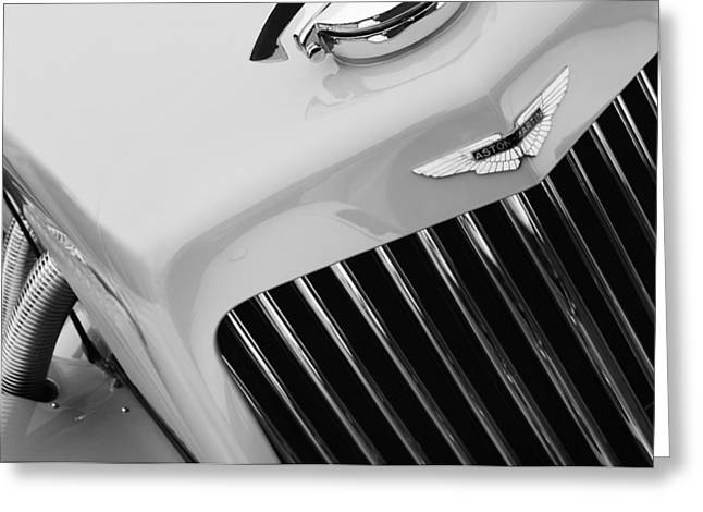 D.w Greeting Cards - 1939 Aston Martin 15-98 Abbey Coachworks SWB Sports Grille Emblem Greeting Card by Jill Reger