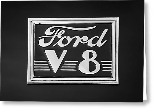 1940 Ford Greeting Cards - 1940 Ford Deluxe Coupe Emblem Greeting Card by Jill Reger