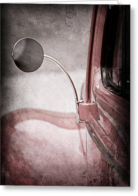 1940 Ford Greeting Cards - 1940 Ford Deluxe Coupe Rear View Mirror Greeting Card by Jill Reger