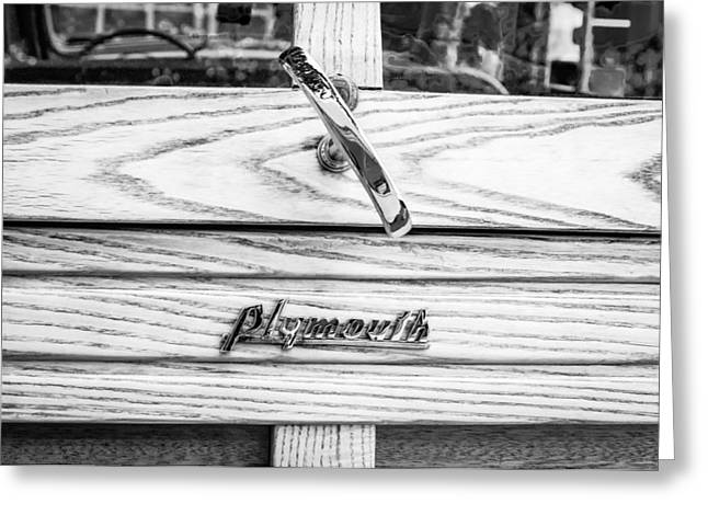 Woody Wagon Greeting Cards - 1940 Plymouth Deluxe Woody Wagon Emblem Greeting Card by Jill Reger