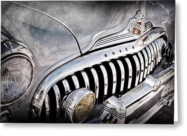 1947 Greeting Cards - 1947 Buick Eight Super Grille Emblem Greeting Card by Jill Reger