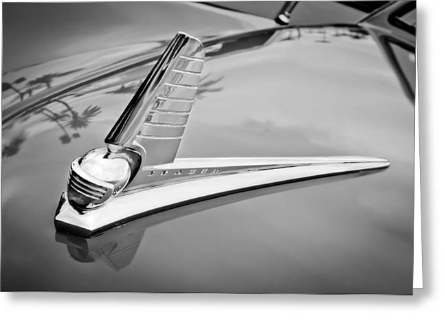 1947 Greeting Cards - 1947 Kaiser-Frazer Hood Ornament Greeting Card by Jill Reger