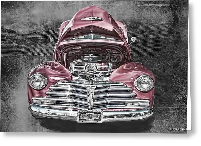 Antique Car Greeting Cards - 1948 Chevy 2100 FK Fleetmaster Greeting Card by Lesa Fine