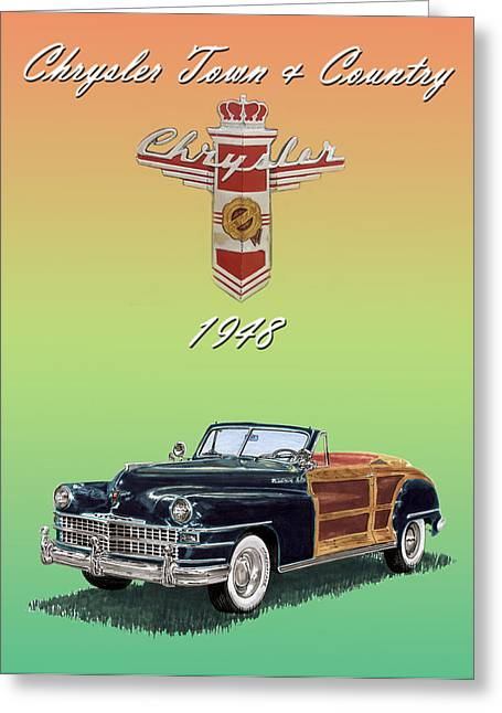 Country Framed Prints Greeting Cards - 1948 Chrysler Town and Country Greeting Card by Jack Pumphrey