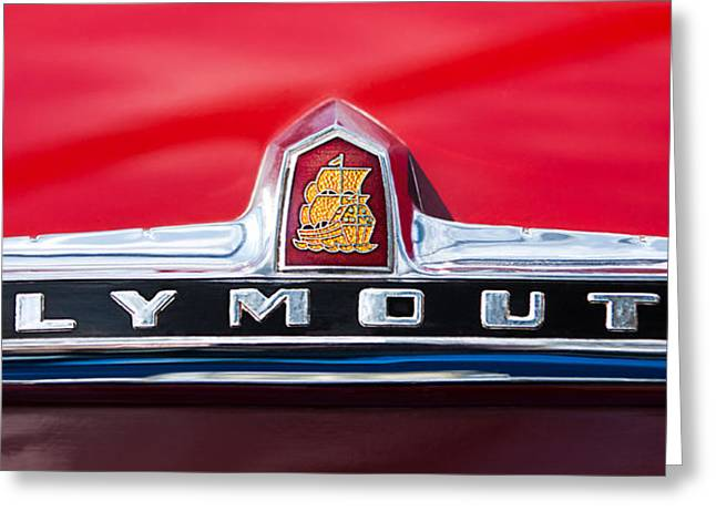 1949 Plymouth Photographs Greeting Cards - 1949 Plymouth P-18 Special Deluxe Convertible Emblem Greeting Card by Jill Reger