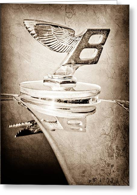 Saloons Greeting Cards - 1950 Bentley MK VI Sports Saloon Hood Ornament Greeting Card by Jill Reger
