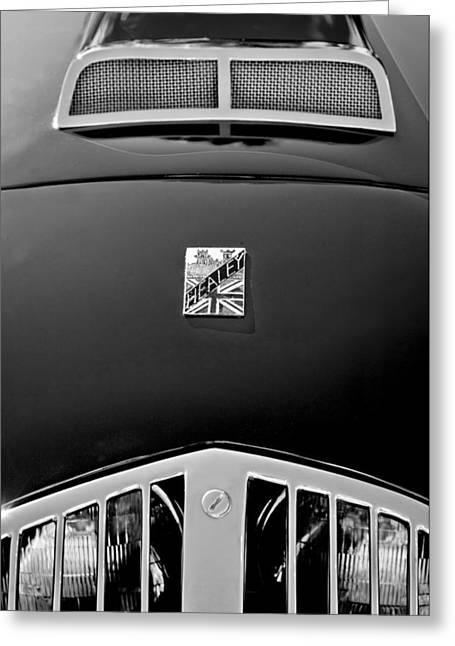 Best Images Photographs Greeting Cards - 1950 Healey Silverston Sports Roadster Emblem Greeting Card by Jill Reger