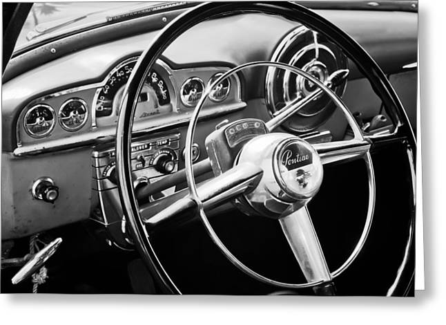 Wheels Greeting Cards - 1950 Pontiac Steering Wheel Emblem Greeting Card by Jill Reger