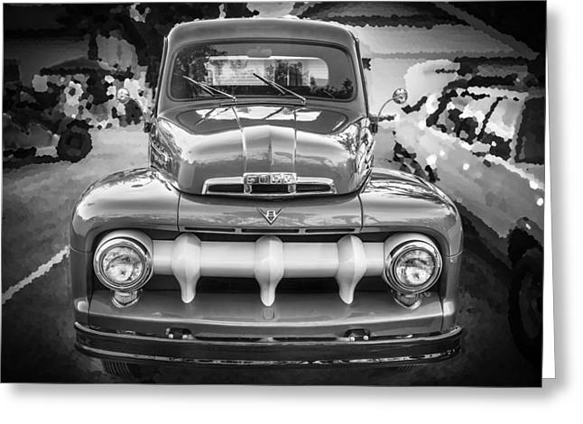 1951 Greeting Cards - 1951 Ford F1 Pickup Truck BW  Greeting Card by Rich Franco