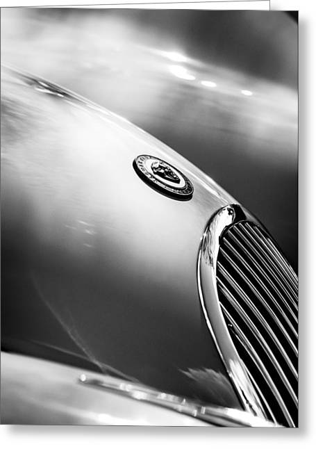 1951 Photographs Greeting Cards - 1951 Jaguar Grille Emblem Greeting Card by Jill Reger