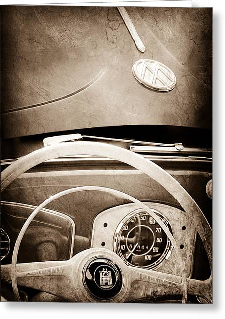 1951 Greeting Cards - 1951 Volkswagen VW Beetle Cabriolet Steering Wheel Emblem - Hood Emblem Greeting Card by Jill Reger