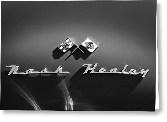 Nash Greeting Cards - 1953 Nash-healey Roadster Emblem Greeting Card by Jill Reger