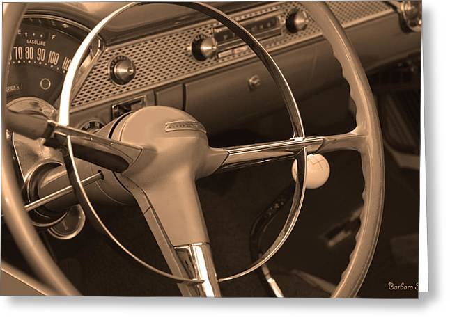 Station Wagon Greeting Cards - 1955 Chevy Nomad Steering Wheel Greeting Card by Barbara Snyder