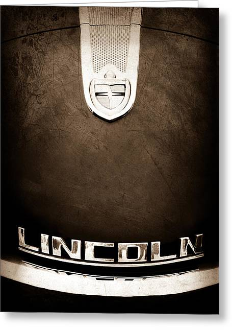 1955 Greeting Cards - 1955 Lincoln Indianapolis Boano Coupe Emblem Greeting Card by Jill Reger