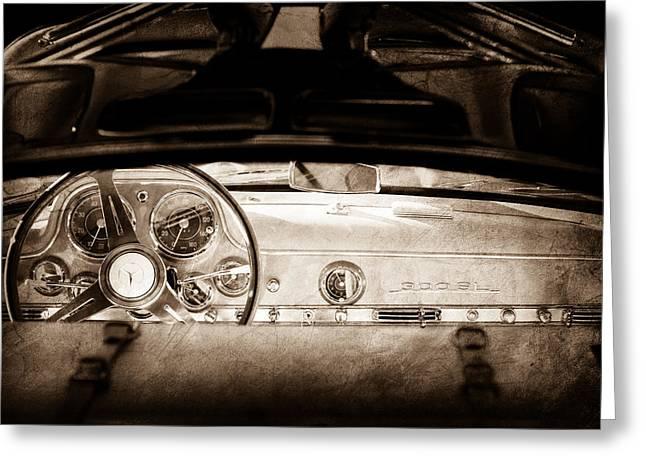 Mercedes Gullwing Greeting Cards - 1955 Mercedes-Benz Gullwing Dashboard - Steering Wheel Greeting Card by Jill Reger