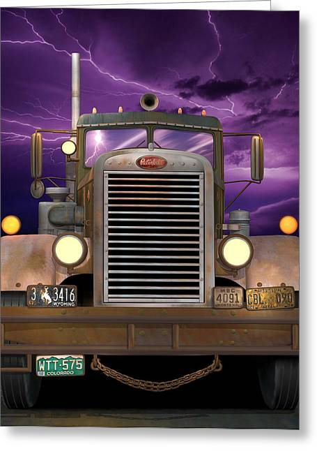 Recently Sold -  - 1955 Movies Greeting Cards - 1955 Peterbilt Greeting Card by Stuart Swartz