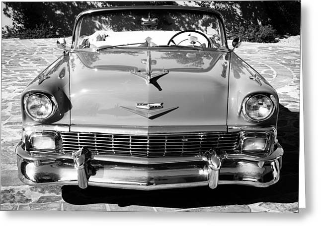 Custom Grill Greeting Cards - 1956 Chevrolet Belair Convertible Custom V8 -051BW Greeting Card by Jill Reger