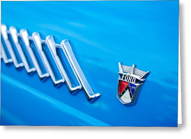 1956 Greeting Cards - 1956 Ford Thunderbird Emblem Greeting Card by Jill Reger