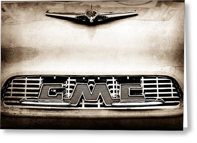 Classic Pickup Greeting Cards - 1956 GMC 100 Deluxe Edition Pickup Truck Hood Ornament - Grille Emblem Greeting Card by Jill Reger