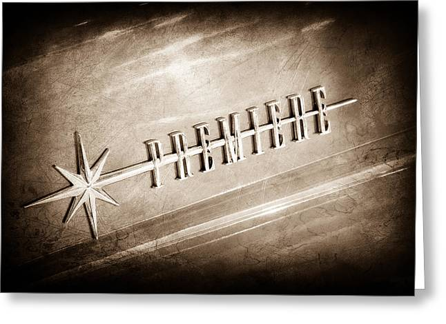 1956 Lincoln Premiere Emblem Greeting Card by Jill Reger