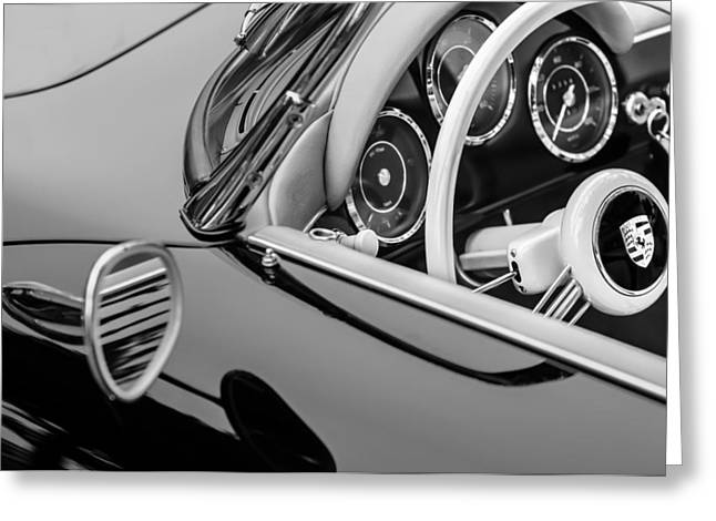 Steering Greeting Cards - 1956 Porsche 356 A Speedster Steering Wheel Emblem Greeting Card by Jill Reger