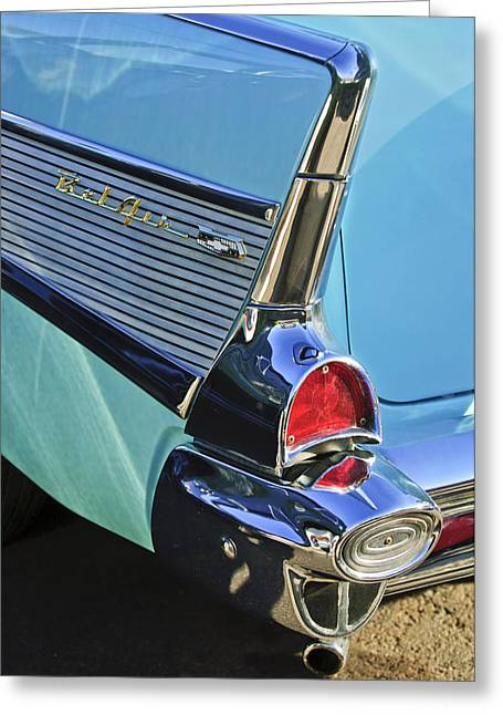 Tail Light Greeting Cards - 1957 Chevrolet Belair Taillight Greeting Card by Jill Reger